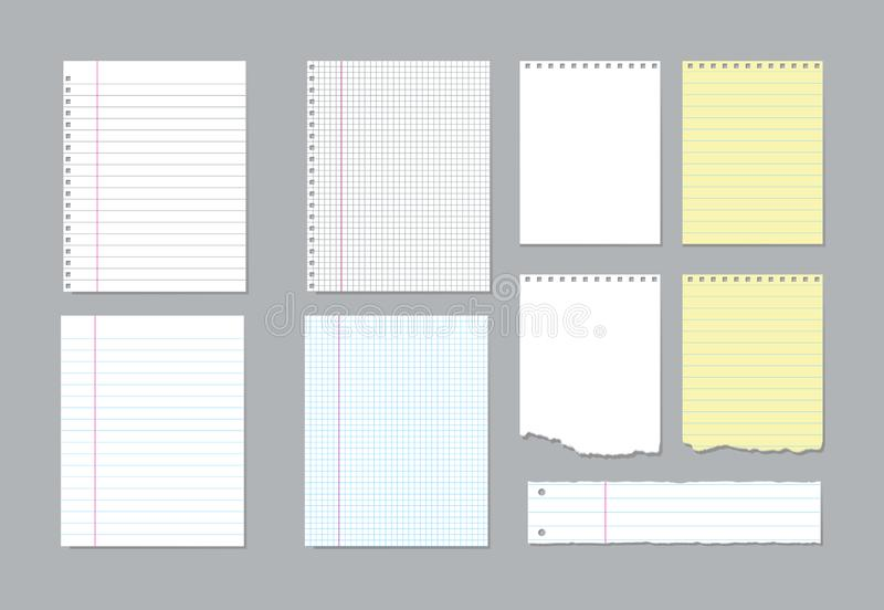 Set of different notebook pages and pieces of torn notebook paper. Vector illustration stock illustration