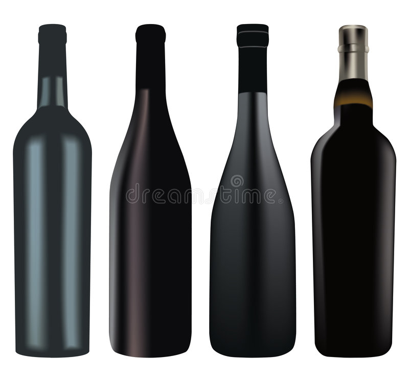 Set of different wine bottles stock photo