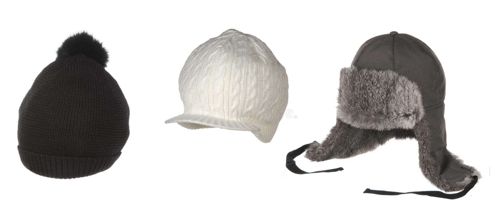 Set of different winter hats isolated on white stock photos