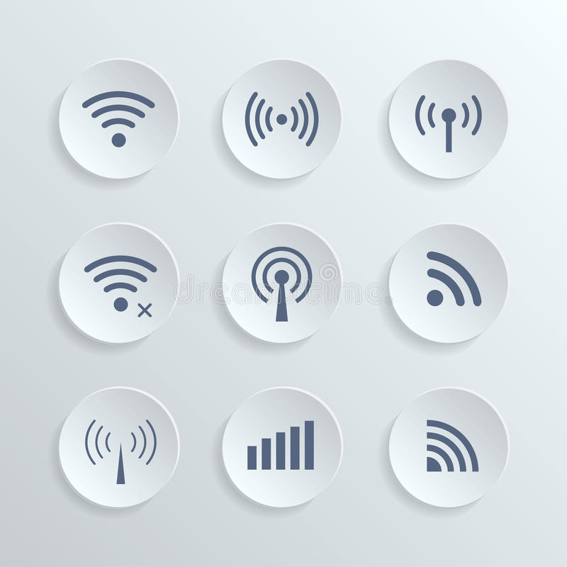 Set of different wireless 3d buttons and wifi icons stock illustration