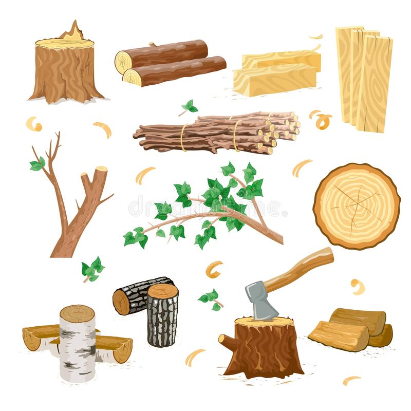 Set of different wood types for firewood industry isolated. vector illustration