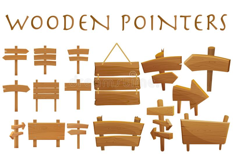 Set of different wooden empty cartoon pointers, hovering guides, signboards, signposts, planks, showing different. Destinations isolated flat vector vector illustration