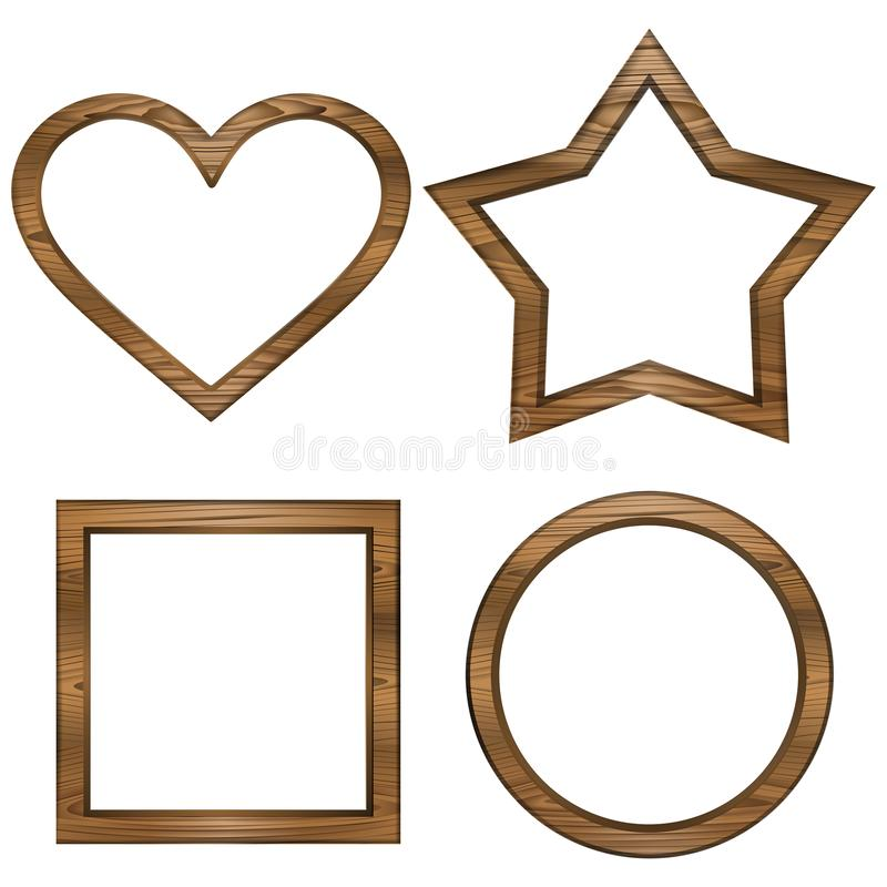 Set different wooden frames. Square, circle, star and heart. Additional format available : PNG Transparent stock illustration