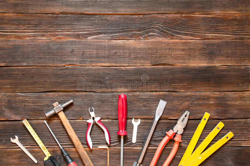 Set of different work tools: screwdriver, pliers, hammer, pliers stock photo