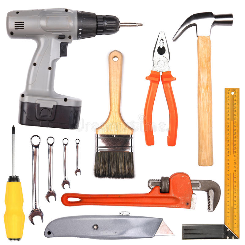 Set of different working tools royalty free stock images