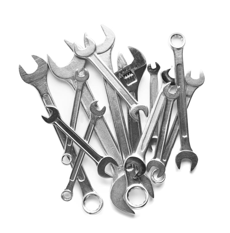 Set of different wrenches on white, top view. Plumbing tools stock image