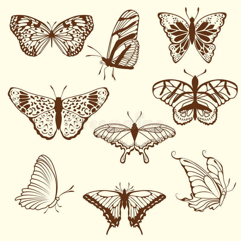 Set of differnet sketch butterfly stock images
