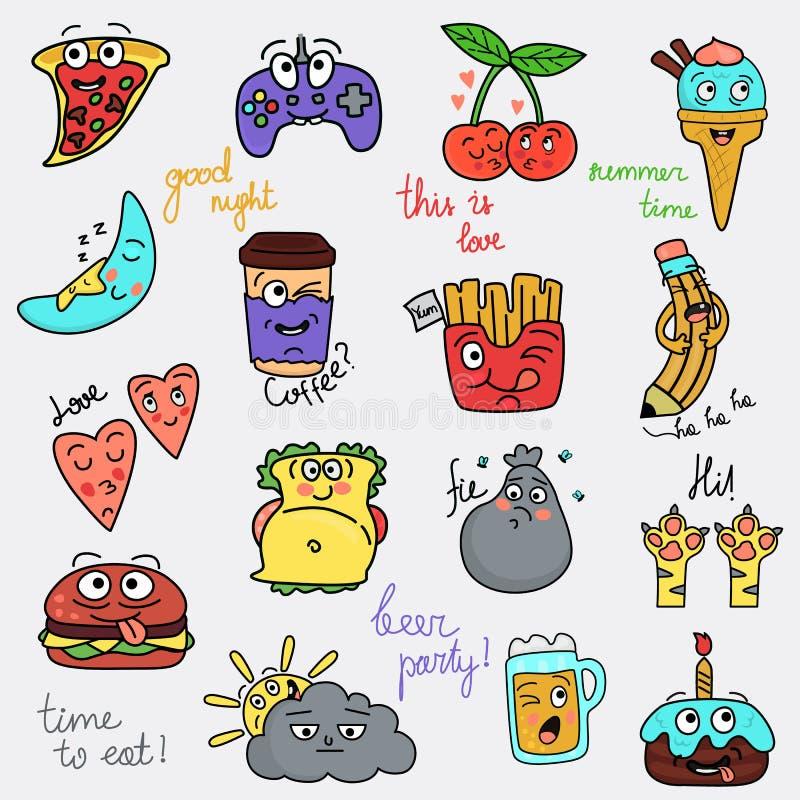 Set of digfferent funny chat smiles color icons. Set of digfferent funny chat smiles icons vector illustration