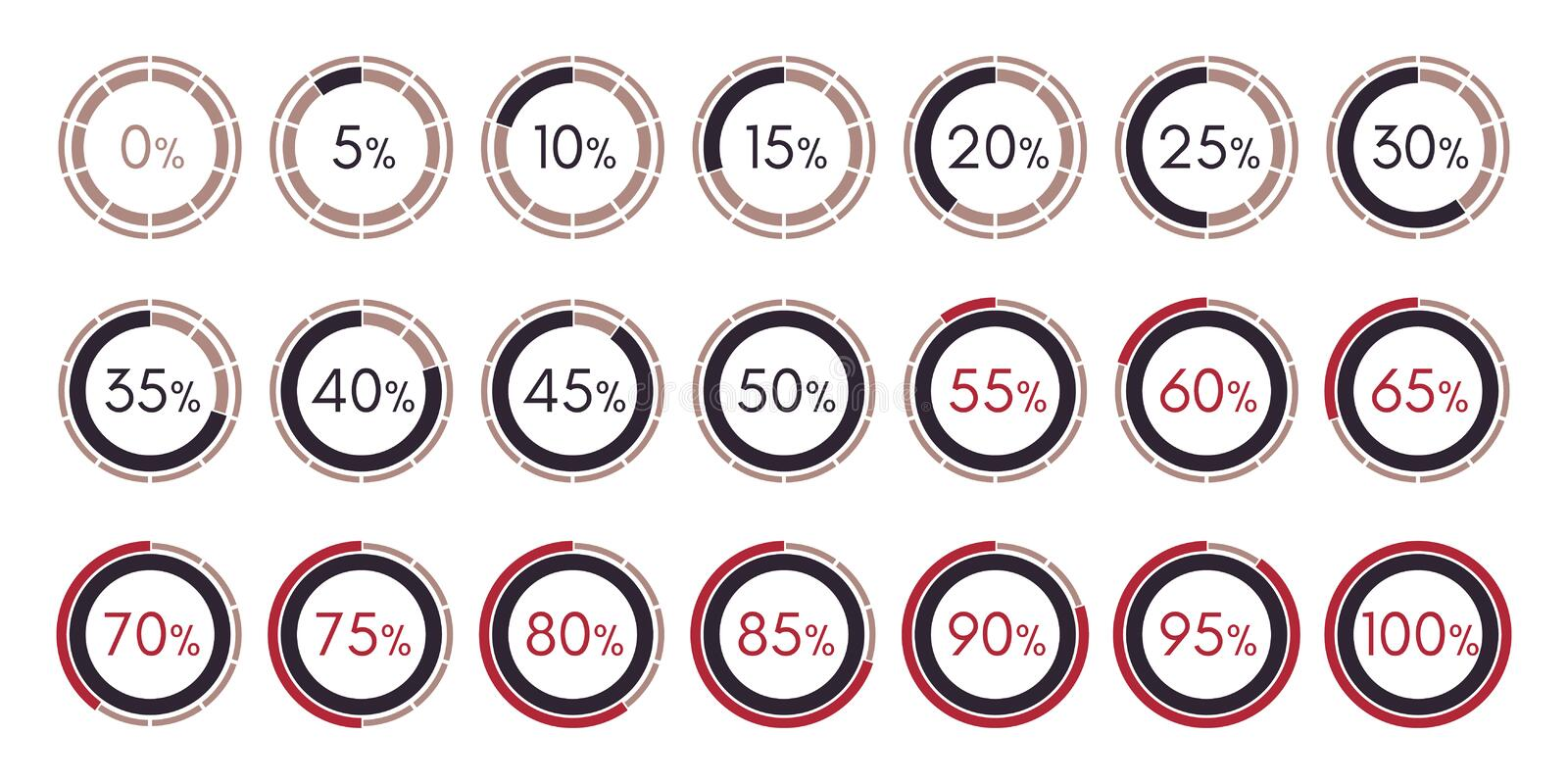 Set digital collection of infographics charts isolated royalty free illustration