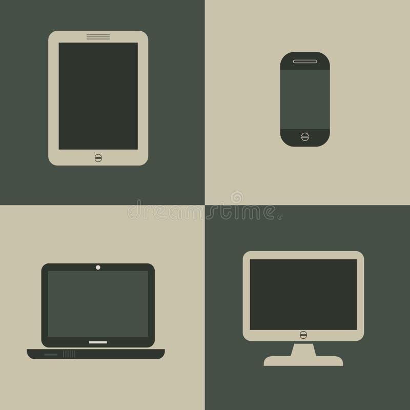 Set of digital devices on gray background stock illustration