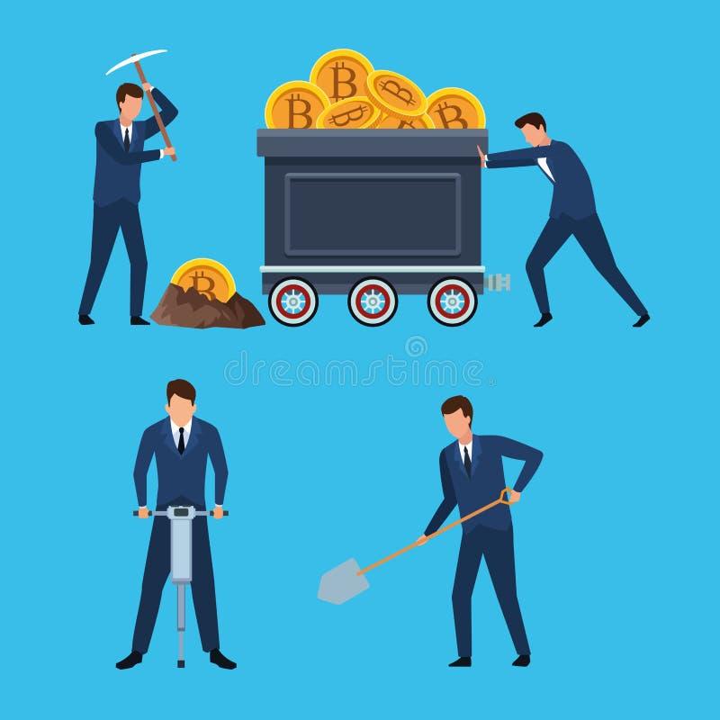 Set of digital mining bitcoin man royalty free illustration