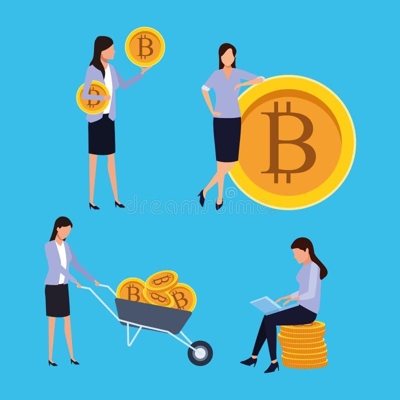 Set of digital mining bitcoin woman stock illustration