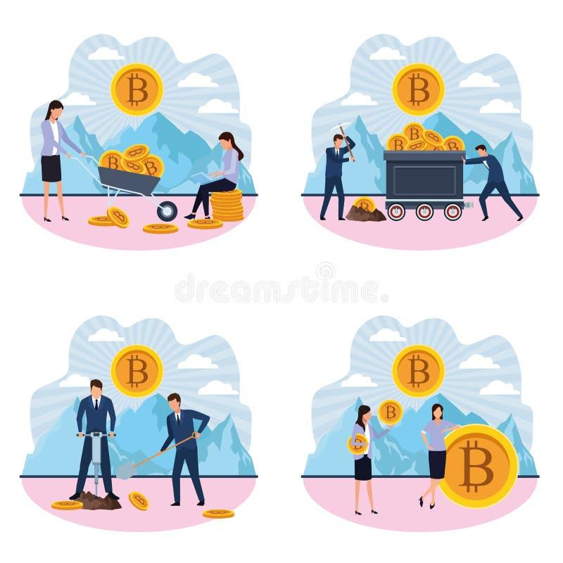 Set of digital mining bitcoin women and men stock illustration