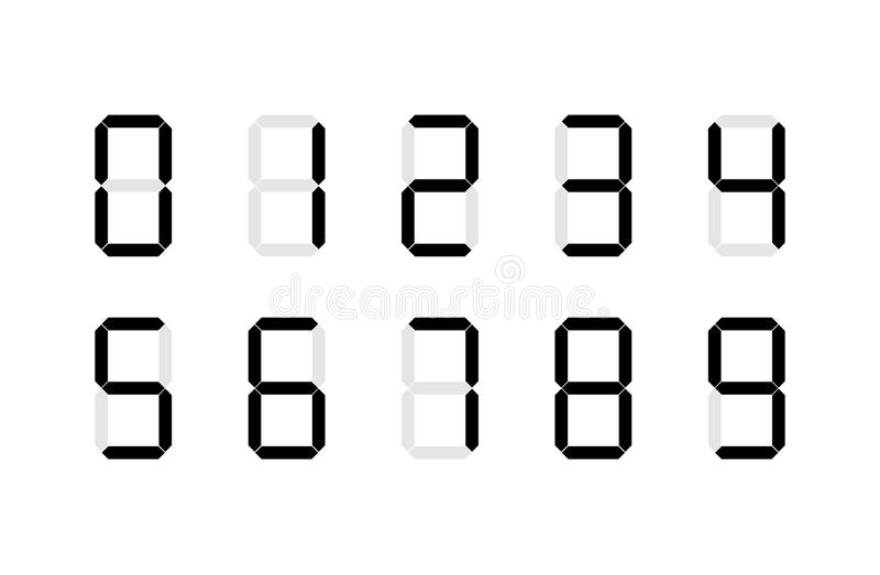 set of digital number signs made up from seven segments on white stock illustration