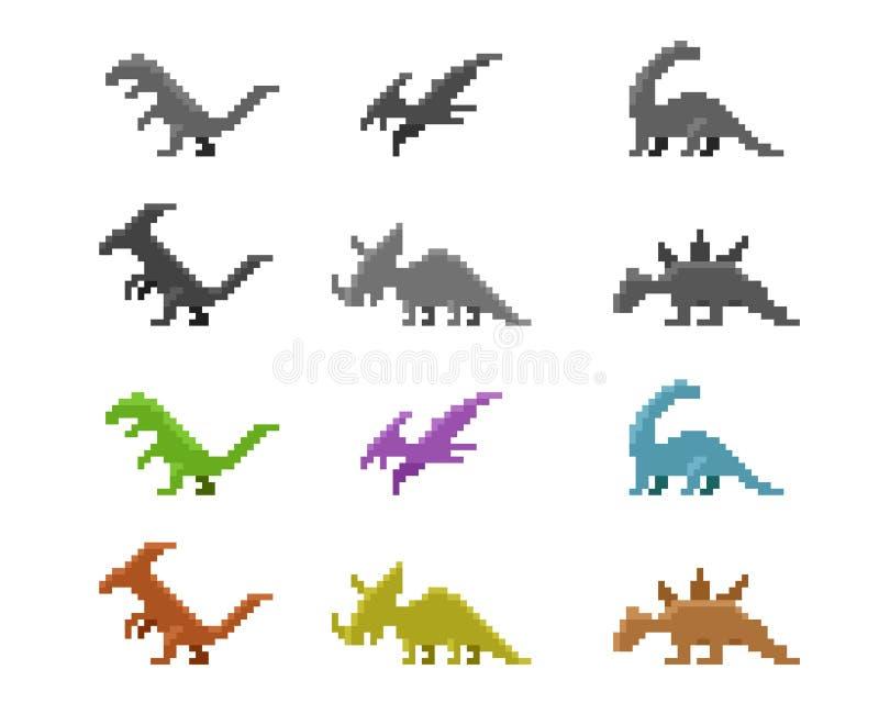 Set dinosaur ikony w koloru piksla stylu, wektor ilustracji