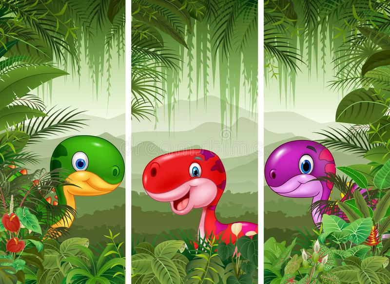 Set of dinosaur with tropical forest background. Illustration of Set of dinosaur with tropical forest background vector illustration