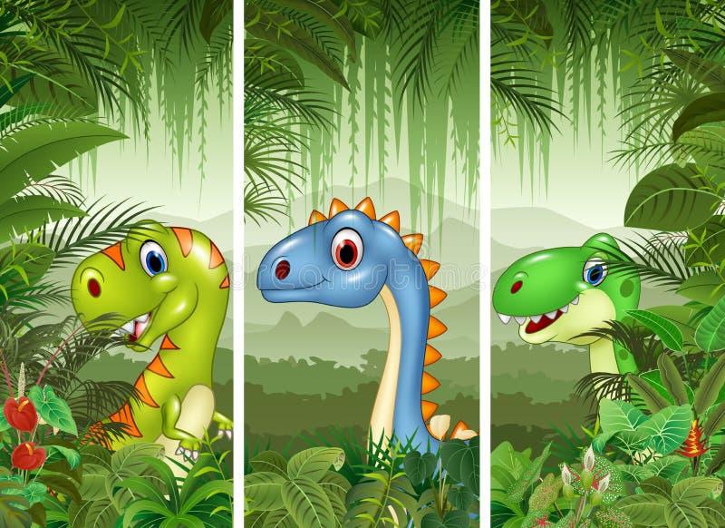 Set dinosaur z tropikalnym lasowym tłem ilustracja wektor