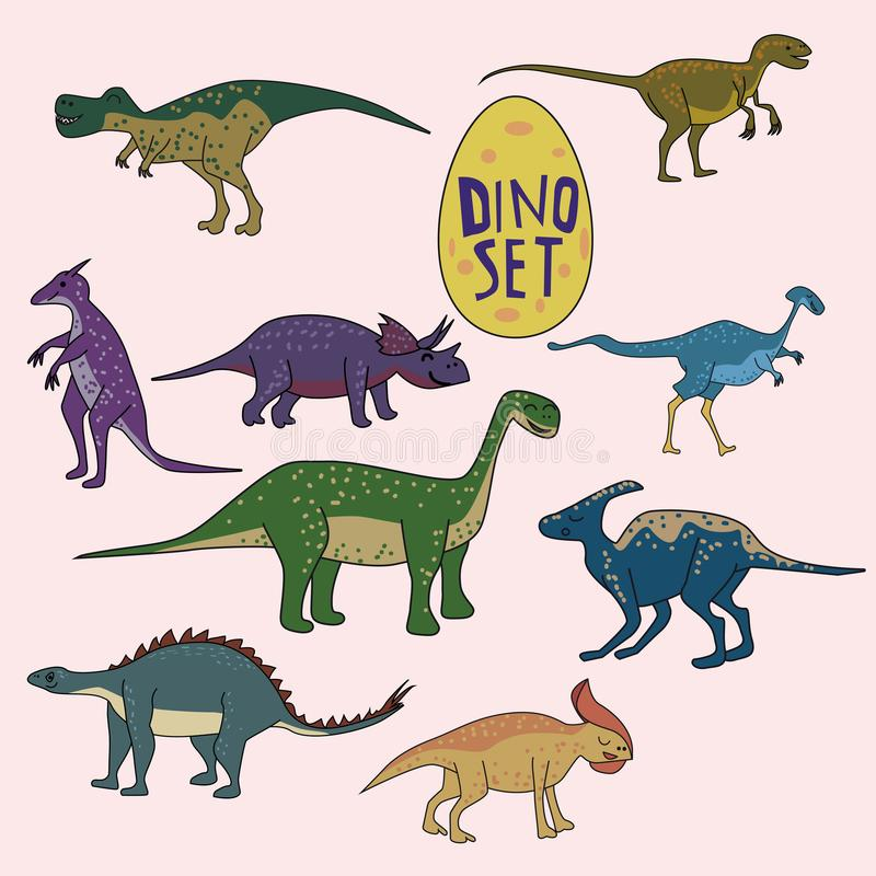 Set of dinosaurs, funny cute animals, isolated, vector, illustration royalty free illustration