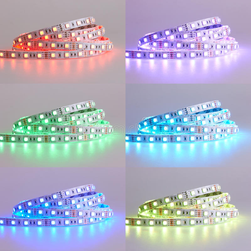 Set of Diode strip. Led lights tape. Close-up royalty free stock photography
