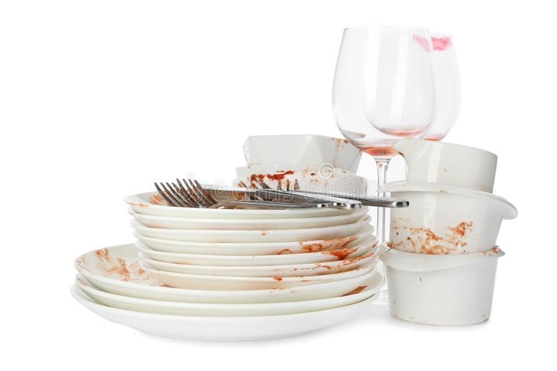 Set of dirty dishes on white royalty free stock photography