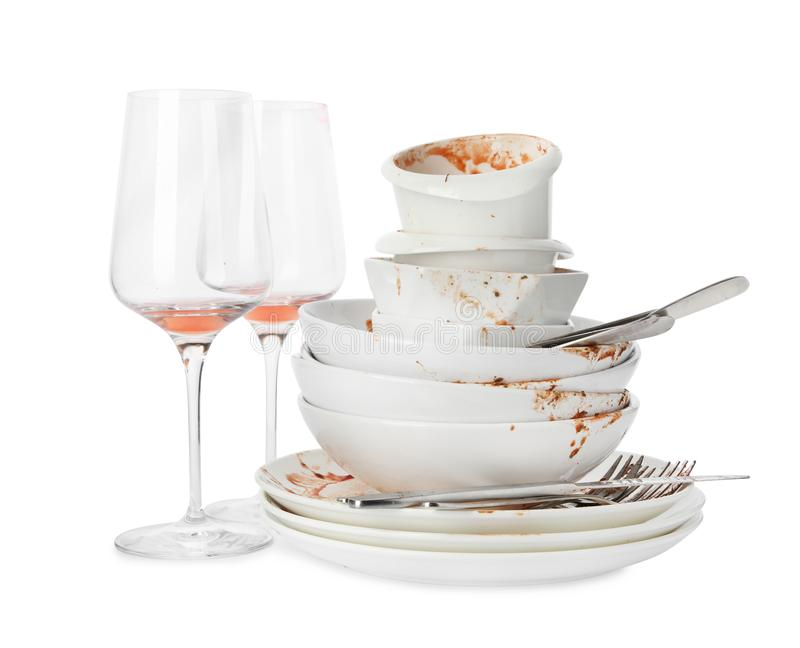 Set of dirty dishes on white royalty free stock photo