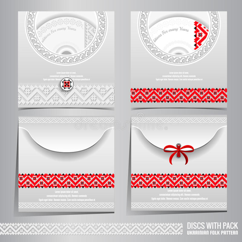 Set of disc packs templates with Ukrainian folk black-red embroidery royalty free illustration