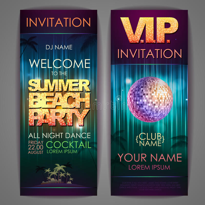 Set of disco background banners. Summer beach party stock illustration