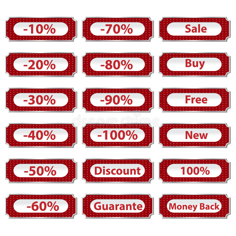 Set of discount buttons royalty free illustration