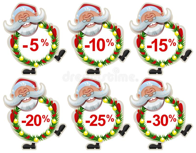 Set discount label Santa Claus Christmas wreath of fir branches vector illustration