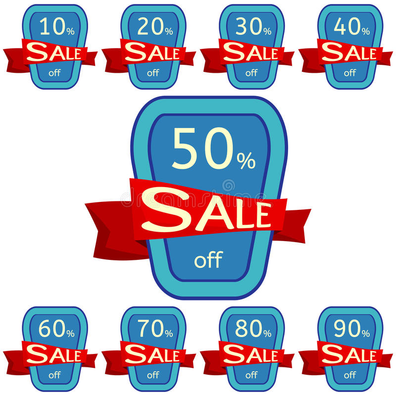 Set of discount stickers. Blue badges with red ribbon for sale 10 - 90 percent off. Vector illustration stock illustration