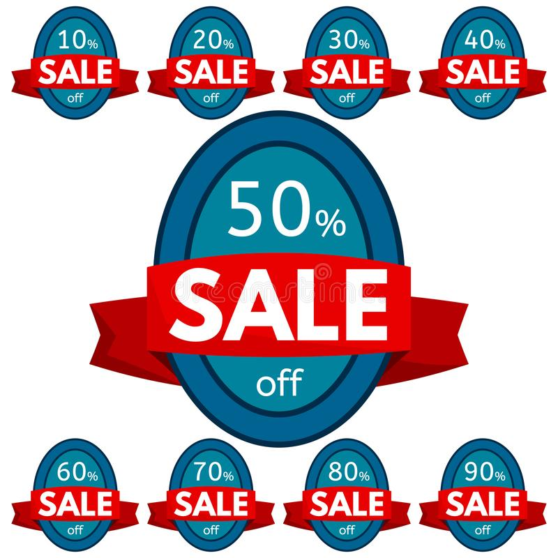 Set of discount stickers. Blue badges with red ribbon for sale 10 - 90 percent off. Vector illustration royalty free illustration