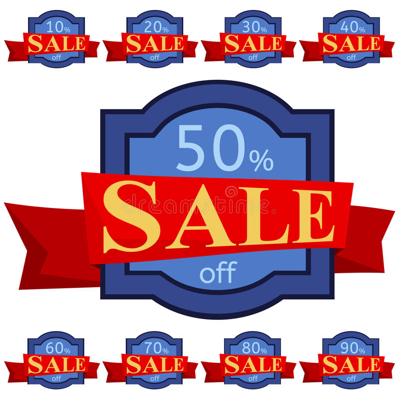 Set of discount stickers. Blue badges with red ribbon for sale 10 - 90 percent off. Vector illustration vector illustration