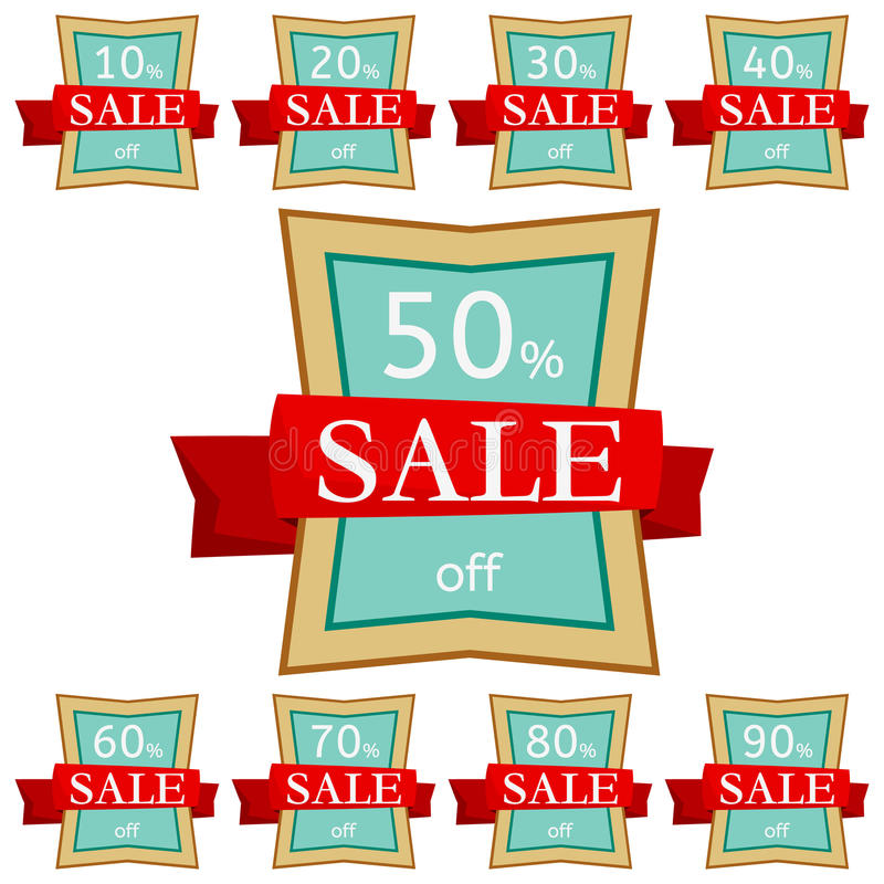 Set of discount stickers. Quadrangular badges with red ribbon for sale 10 - 90 percent off. Vector illustration vector illustration