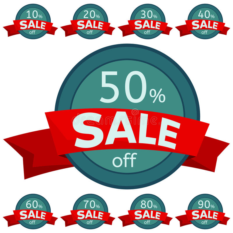 Set of discount stickers. Round badges with red ribbon for sale 10 - 90 percent off. Vector illustration vector illustration