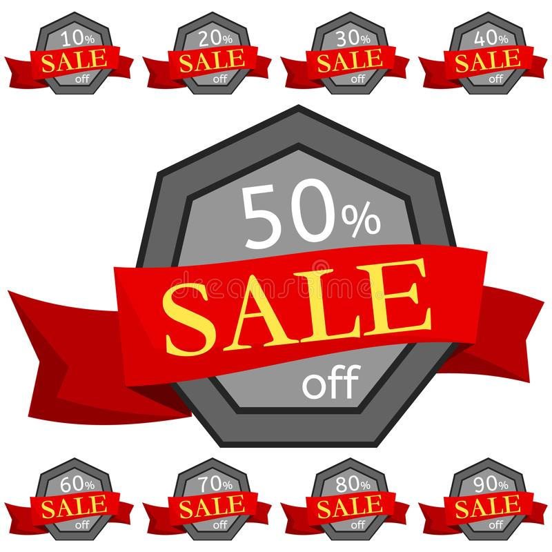 Set of discount stickers. Grey badges with red ribbon for sale 10 - 90 percent off. Vector illustration stock illustration
