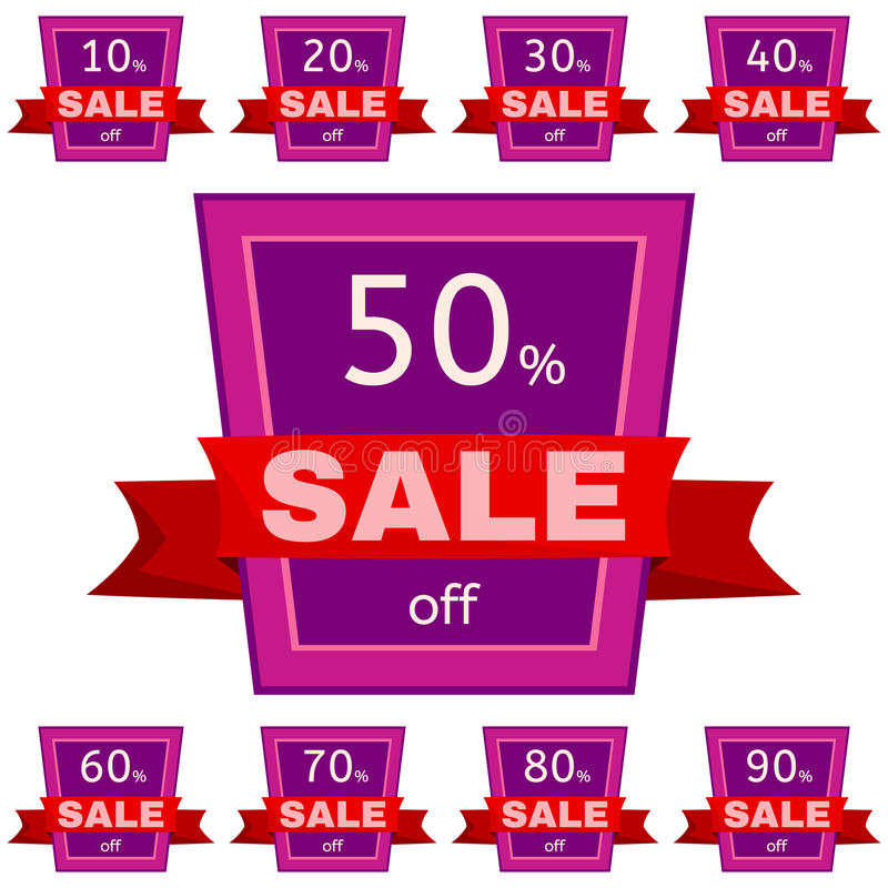 Set of discount stickers. Pink badges with red ribbon for sale 10 - 90 percent off. Vector illustration stock illustration
