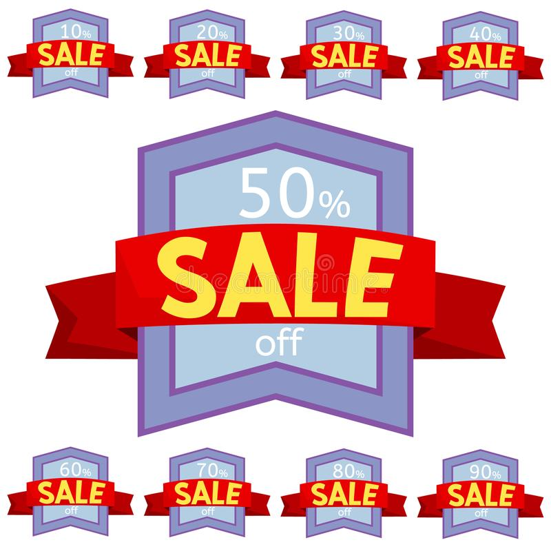 Set of discount stickers. Violet badges with red ribbon for sale 10 - 90 percent off. Vector illustration royalty free illustration