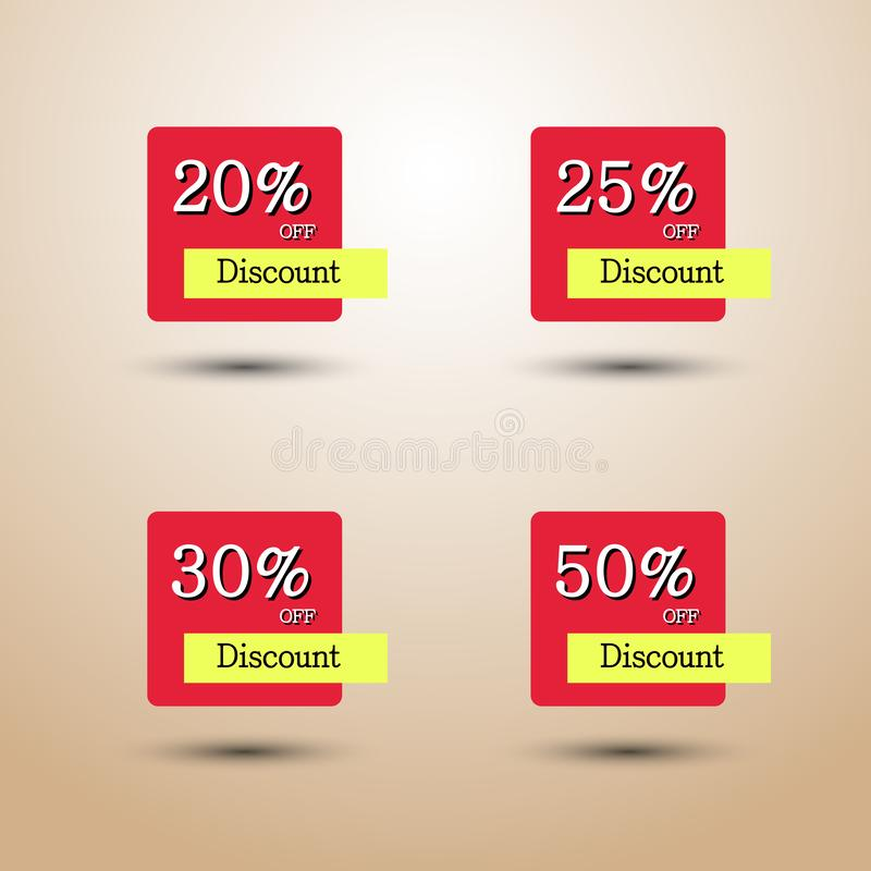 Set of Discount tag, 20 25 30 50 percent sale, Special Offer banner, Advertising Price label, Sale Promo stock illustration