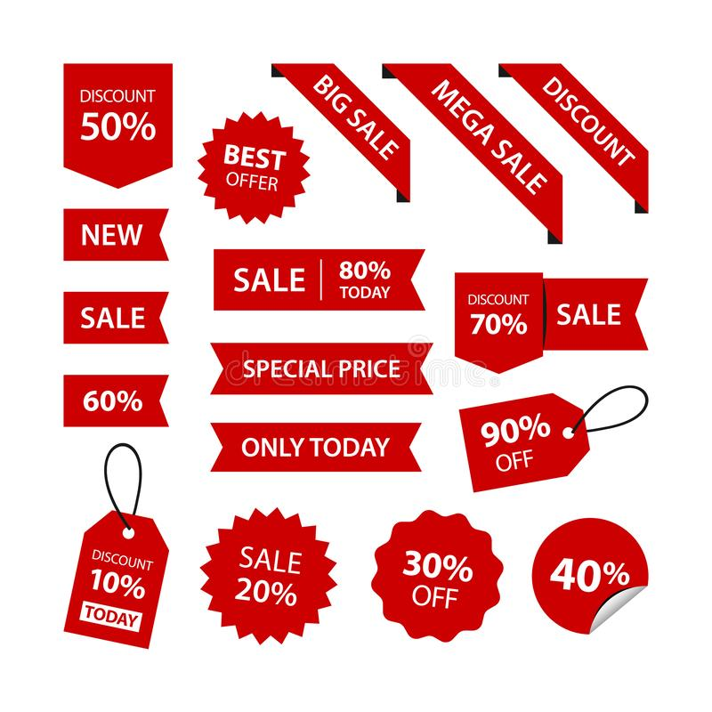 Set discounts variation vector designs royalty free stock photography