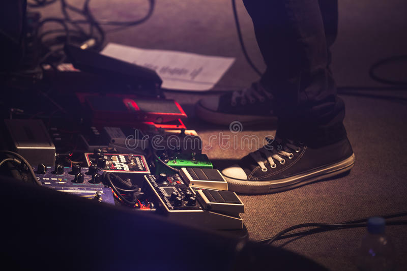 Set of distortion effect pedals, rock music stock images