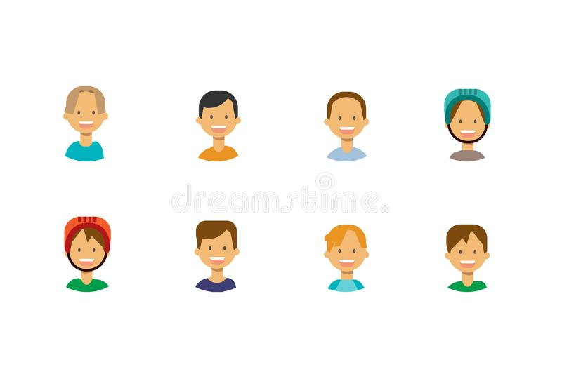 Set diverse cute children face happy girl portrait on white background, female avatar flat. Vector illustration royalty free illustration
