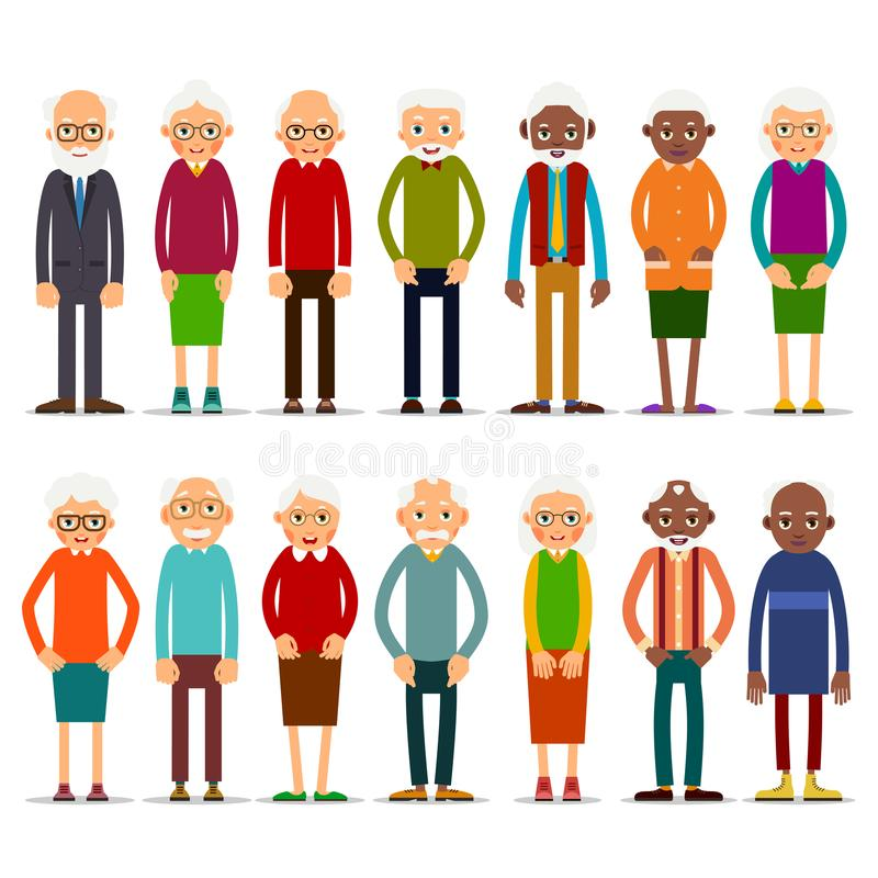 Set of diverse elderly people with avatars isolated on white background. Aged people caucasian and african. Elderly men and women. Illustration in flat style stock illustration