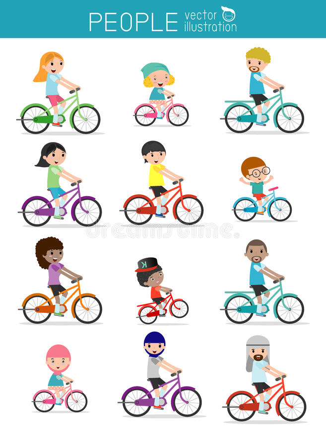 Set of diverse family riding bikes isolated on white background. Different nationalities and dress styles. Happy family riding bi. Kes isolated on white stock illustration