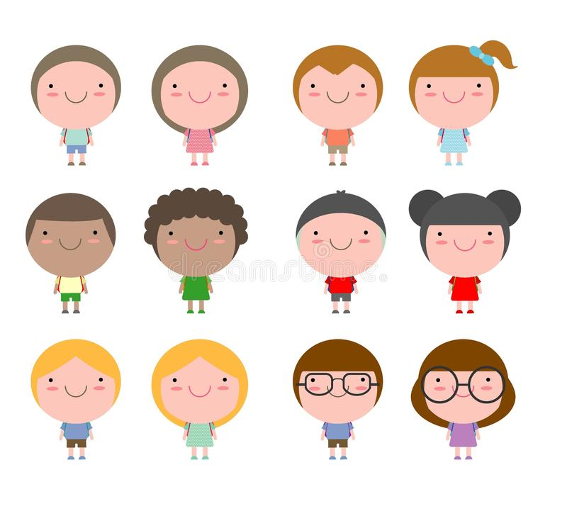 Set of diverse Kids and Different nationalities isolated on white background,Cute cartoon children go to school, back to school stock illustration