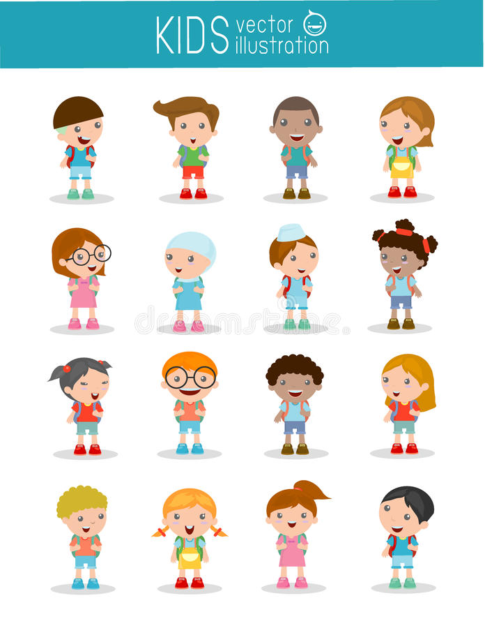 Set of diverse Kids and Different nationalities isolated on white background. Kids go to school, back to school, Cute cartoon children, happy children, Vector stock illustration