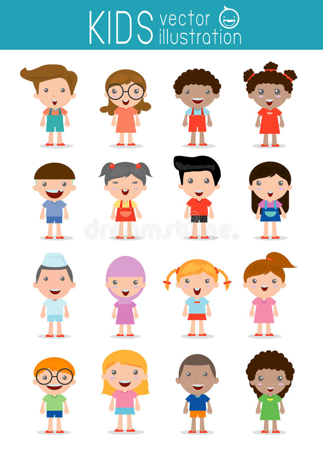 Set of diverse kids isolated on white background.Different nationalities and dress styles. European children, America's Children, Asian children,African vector illustration