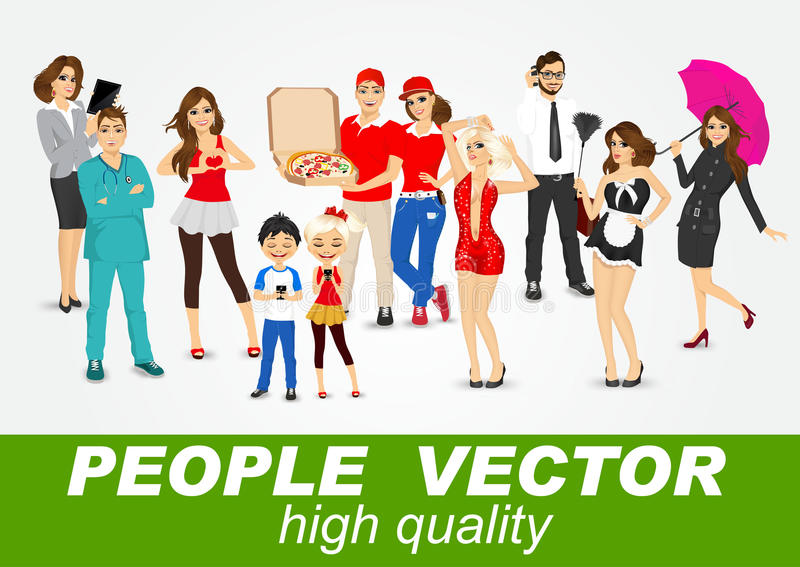 Set of diverse people characters vector illustration