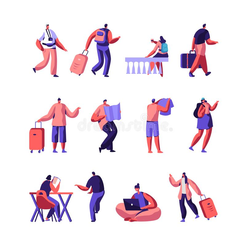 Set of Diverse Young People with Luggage and Maps Traveling and Stay in Hotel or Hostel. Male, Female Tourist Characters. Staying at Night, Accommodation for vector illustration
