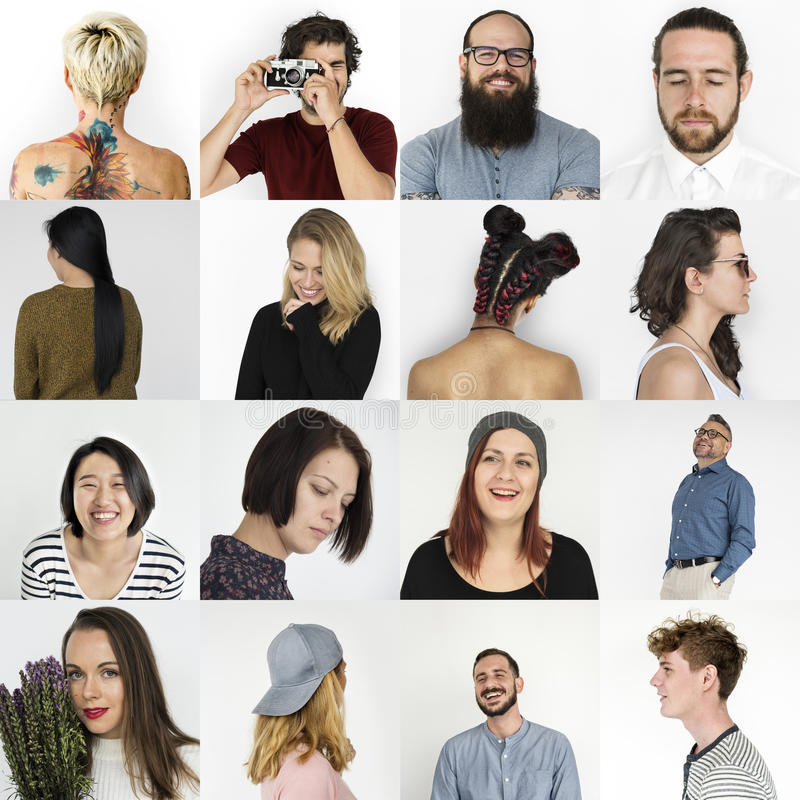 Set of Diversity People Face Expression Lifestyle Studio Collage royalty free stock photography
