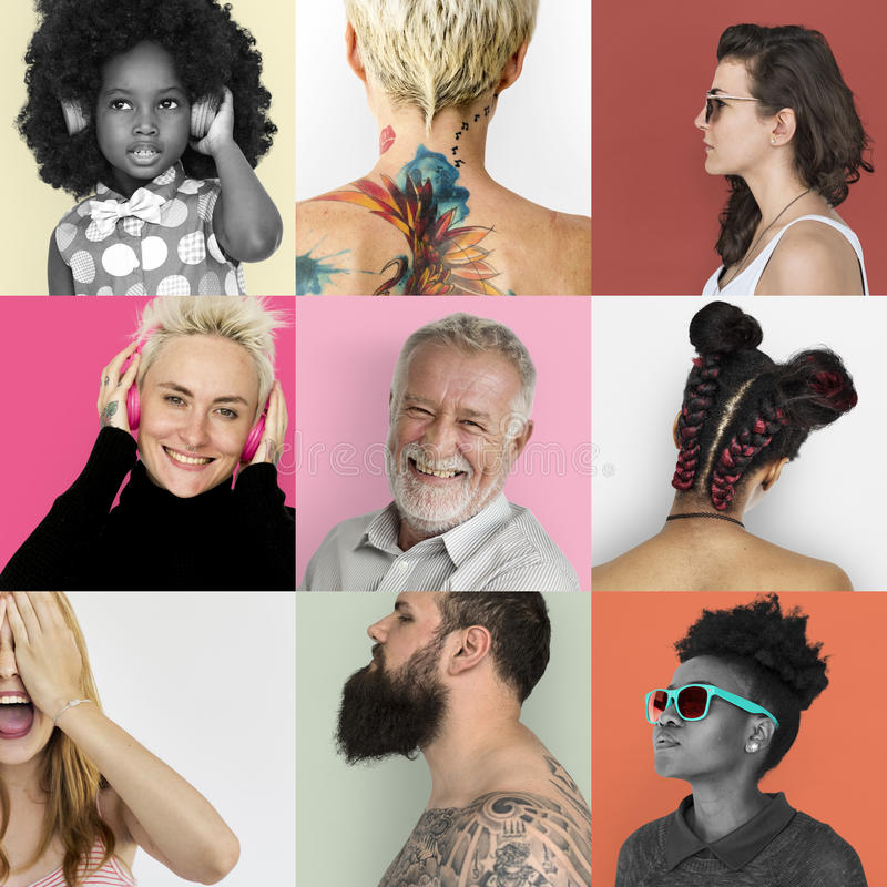 Set of Diversity People Face Expression Lifestyle Studio Collage stock image